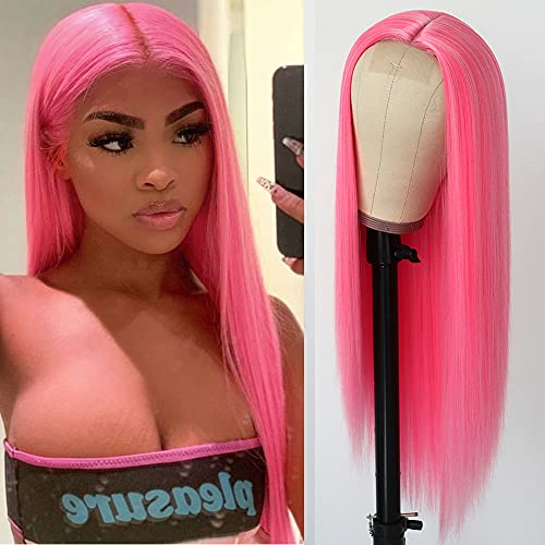 QD-Tizer Pink Synthetic Hair Wigs Natural Red Pink Mixed Long Straight Hair Heat Resistant Synthetic No Lace Wigs for Fashion Women