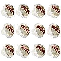 ドレッサー引き出し用ノブドアノブキャビネットノブ野球のクローズアップ DIYワードローブキッチンバスルーム食器棚プルハンドルネジ付き12個