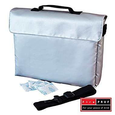 Fireproof Lock Box Bag for Documents Money & Office Files 15x11x3 Best Housewarming Safety Gifts - Store Home File in Water Resistant Pouch 4 Evacuation – 100% Fire Protected Zipper – Patent Pending