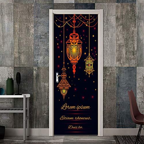 Lihaohao 3D-deurkunst, zelfklevende deurmuurfoto, deurstickers, moslim vastzet. 95cm*215cm A