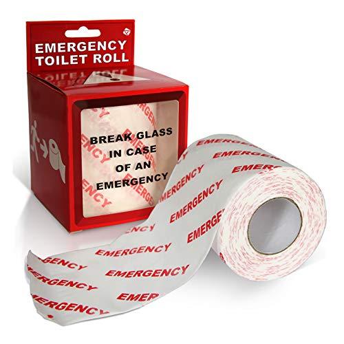 Preis am Stiel Notfall-Toilettenpapier ''Emergency'' | lustige Geschenke für Männer | Toilettenpapierhalter | Klopapier für Notfälle | Scherzartikel für Männer | Badezimmer Deko