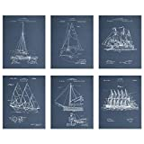 BigWigPrints Sailboat Patent Wall Decor - Set of 6 (8x10)