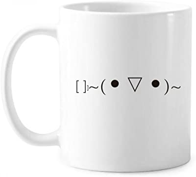 可愛い顔文字のトーストの発現 クラシックマグカップ白陶器セラミックカップの贈り物で350 mlのハンドル