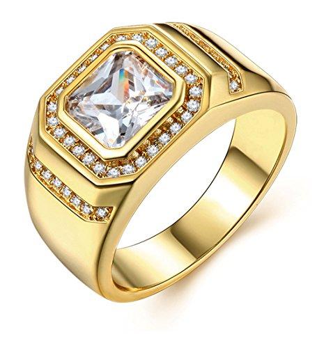 Uomo Oro Anelli di Fidanzamento Uomini Gioielli con Placcato Oro 18k Anniversario FEDI Nuziali Anello a Fascia Regalo per Lui Marito