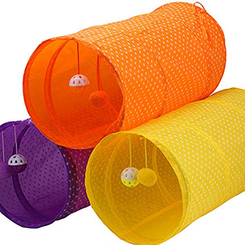 Hemore Tunnel giocattolo pieghevole per gatti, per conigli, gattini e cani, colore arancione