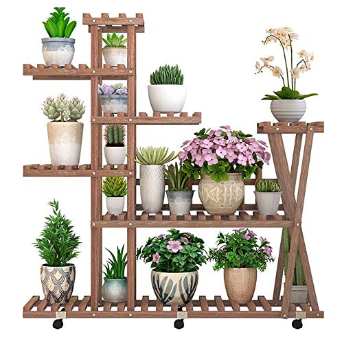 FENGFAN 7 Tier Houten Plant Stand Bloemenrek met Wiel, Brede Koolzuurhoudende Bloempot Organizer Plank voor Indoor Outdoor