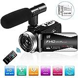 Caméscope Caméra Vidéo Full HD 1080P 30FPS 24.0MP Caméra de Vision Nocturne pour Caméscopes Numerique avec Télécommande et Microphone Externe