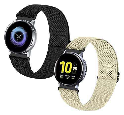 MPWPQ 20mm Watch Band Sport de liberación rápida Compatible con Watch 3 41mm / activo2 44mm 40mm / Galaxy Watch 42mm / Garmin Vivoactive 3 / Forerunner 645 / Nylon Elástico Transpirable Straps