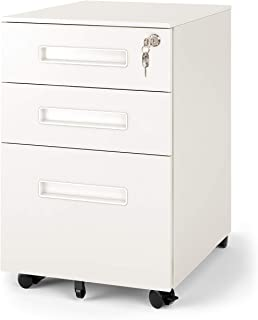 DEVAISE 3-Drawer Mobile Pedestal File Cabinet with Lock, Legal/Letter Size, White