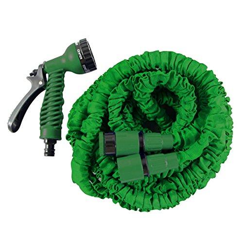 HELO Gartenschlauch 'Flexi' 15 m ausgedehnt (5 m gefaltet), Farbe: Grün - Flexibler Garten Flexischlauch Wasserschlauch mit verstärktem Gewebe inkl. 7 Funktionen Spritzpistole