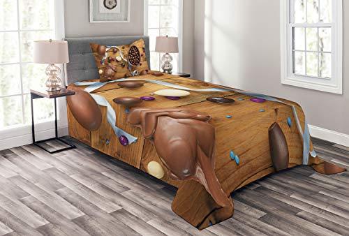 ABAKUHAUS Coniglietto di Pasqua Copriletto, Cioccolato per Le Vacanze Uova, Lavabile e Senza Colori sbiaditi, 170 x 220 cm, Multicolore