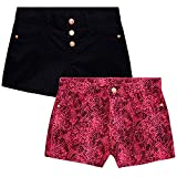 Vince Camuto Girls' Stretch Twill Shorts in Prints and Solids (2 Pack), Purple/Black, Size 7
