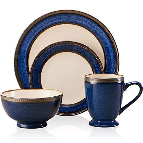 ZLDGYG 4 Piezas Estilo Europeo Azul cerámica vajilla combinación Vintage Metal glaseado Relieve clásico Lateral Placa Fruta Ensalada tazón Taza