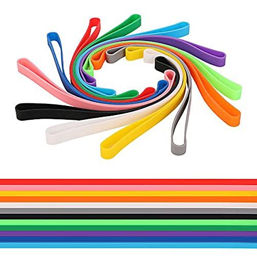 Cdemiy Silikon Gummibänder, 12 Pcs Farbige Gummibände, Große Büromaterialien aus Elastischem Gummiband, für Bücher, Kameras, Kochen, Verpacken, Taschen, Aktenordner (Farbe)