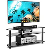 Rfiver Swivel Glass TV Stand with Mount for 32-65 Inch Flat or Curved Screen TV up to 110lbs, Height Adjustable Corner Floor TV Stand Entertainment Center with TV Mount and 3-Tier Storage for AV Media