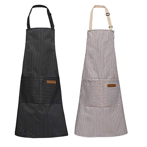 FOTIOMRG 2 Pack Kitchen ApronAdjustable Cooking and Baking Pocket ApronUnisex Bib Home Aprons(Gray and Black Stripe