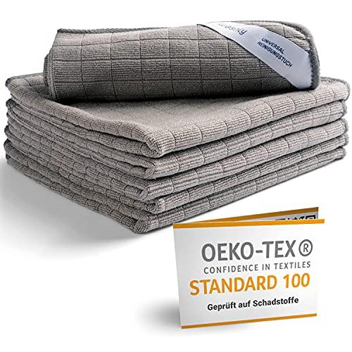 washly Mikrofasertücher in Spitzenqualität mit Oeko-TEX Siegel (6 Stück, 30x30 cm, grau) Premium Mikrofaser Putztücher speziell für Küche Bad und Haushalt – saugstark, weich und fusselfrei
