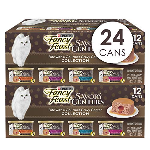 Purina Fancy Feast Pate Wet Cat Food Variety Pack, Savory Centers Pate with a Gravy Center - (2 Packs of 12) 3 oz. Pull-Top Cans