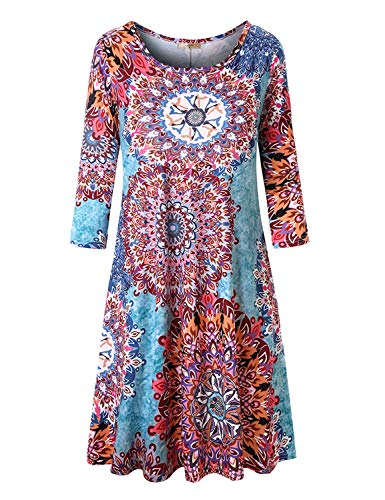 Luranee Tunic Dress for Women, Ladies Knee Length Elegant African Dresses 3/4 Sleeve Crew Neck Breathable Lightweight Nice Surplice Zulily Clothes Green Flowers XL