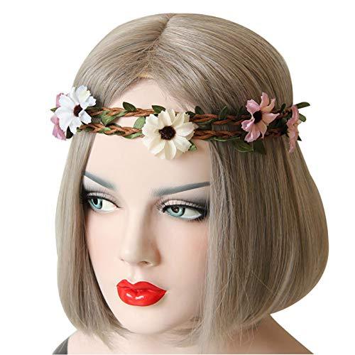 Moligin Mujeres de Flores para Mujer Bebanas Bohemia Flower Crown Wedding Tocado de Novia Diadema Floral para niñas 1pc