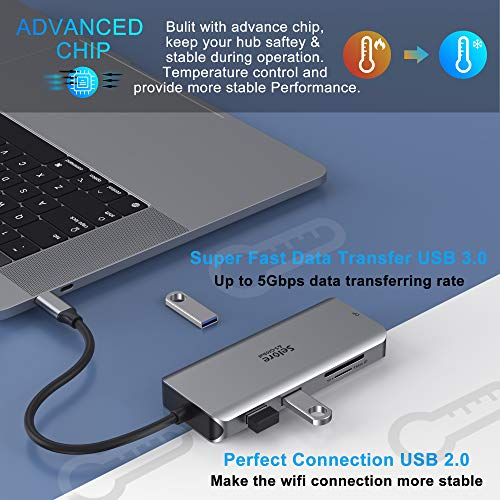 USB C Triple Display Dockingstation Dual HDMI Adapter, 9 in 1 USB C zu Displayport Adapter SD TF Kartenleser 2USB 2.0, 1 USB 3.0, 100W PD für Dell XPS 13/15, Lenovo Yoga, Huawei Matebook X Pro usw.