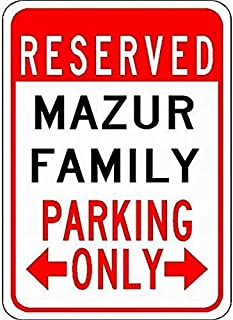 456Yedda Metal Sign Signs Mazur Family Parking Customized Last Name Tin Parking SignQuality Aluminum(Set of 1)