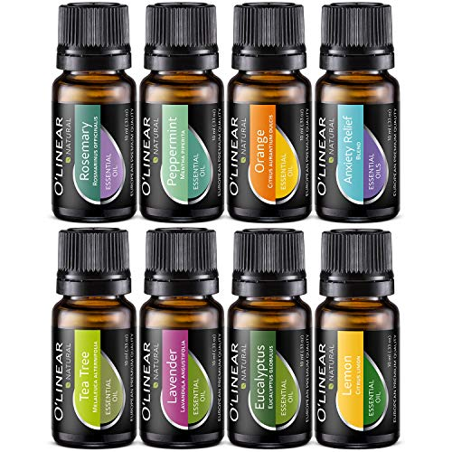 Essential Oils Set - Top 8 Essential Oils for Diffuser, Humidifier, Massage, Aromatherapy and Soul - Tea Tree, Rosemary, Lavender, Peppermint, Orange, Eucalyptus, Lemon, Anxiety Relief & Stress Away