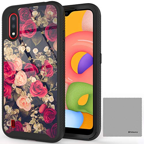 Fotosuncy Floral Designed for Samsung Galaxy A01 Case, Drop Protection Hybrid Dual Layer Armor Protective Case Cover for Girls and Women Rose Flowers