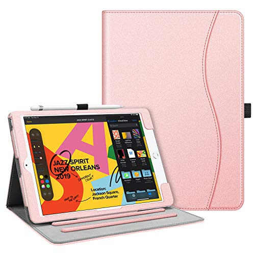 Fintie Case for New iPad 7th Generation 10.2 Inch 2019 - [Corner Protection] Multi-Angle Viewing Folio Smart Stand Back Cover with Pocket, Pencil Holder, Auto Wake/Sleep for iPad 10.2', Rose Gold