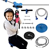 PREMILITY 100Foot Zipline Kit for Backyard Kids with Adjustable Comfortable Swing Seat - Including Zip Line Brake with SUS304 Stainless Steel