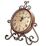 Hierro Arte Escritorio Reloj Hogar Retro Vintage Reloj Mute Reloj de cabecera Antiguo Craft...
