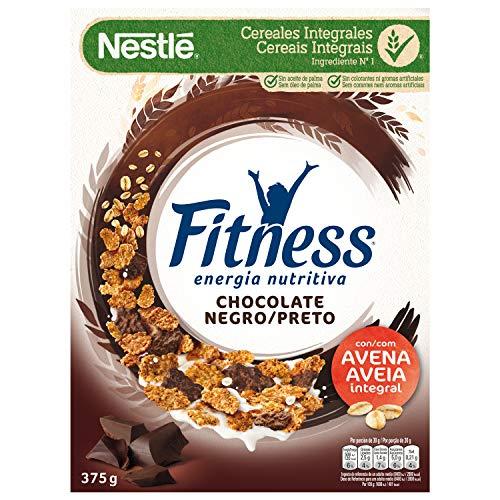 Cereales NESTLÉ Fitness con chocolate negro - Copos de trigo integral, arroz y avena integral tostados - 1 paquete de cereales de 375g