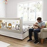 Fascol Barandillas de la Cama Infantil de Acero Carbono, Ajustable para Niños de 0 a 7 años, Barrera de Seguridad Anti-caída para Bebés Portátil y Estable (200 X 93 cm)
