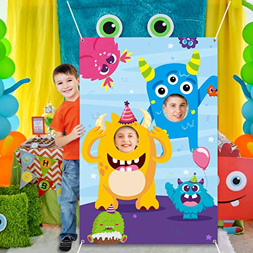 MALLMALL6 Monster Door Banner Large Polyester Monster Face Photo Banner Background Pretend Play Party Game Backdrop Prop Poster Halloween Monster Theme Party Favor Supplies Decorations for Kids