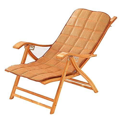 LLMY liegestuhl Klappstuhl Aus Natürlichem Bambus, Sonnenliege am Strand im Freien, 6 Arten Gangeinstellung, Verbreiterung der Armlehnen, Kissen Design, für Gartenterrasse Im Freien(Color:Style 1)