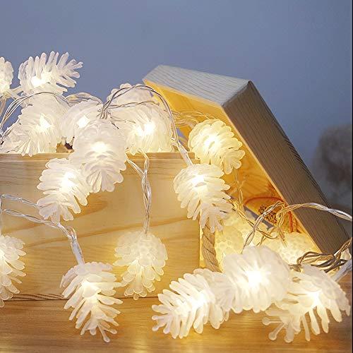 LABYSJ Cadena Luces de Piñas Navideña Alimentada por Batería, 40 Led 6M Guirnaldas Luminosas de Exterior-Interior, para la Fiesta CumpleañOs Fiesta En Casa Boda Decoraciones Interior(Blanco cálido)