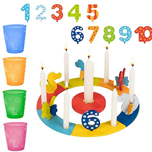 Goki Geburtstagszug-Set Holz Geburtstagskranz Drachen // mit Zahlen von 1-10 + 10 x Kerzen weiß