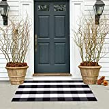 wartleves Buffalo Plaid Check Rug 27.5'x43' Woven Indoor Outdoor Area Rug for Layered Door Mats Home Entrance Front Porch Entryway Bathroom Bedroom Kitchen Farmhouse Black and White