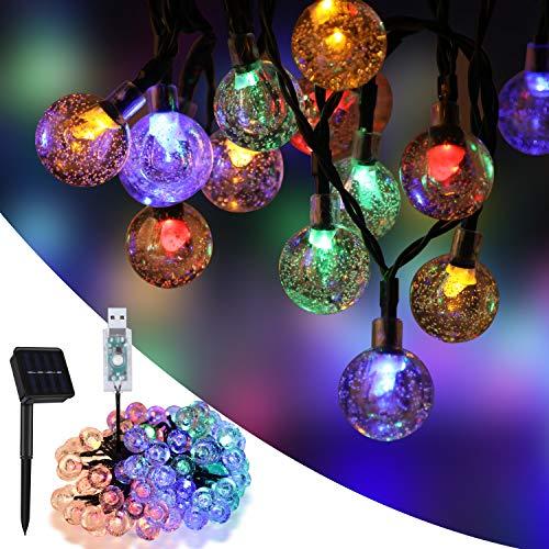 SUMKUMY Cadena Solar de Luces, 100 LED 10M Multicolor Guirnalda Solar Luces Decorativas, IP65 Impermeable, USB, 8 Modos, Luz Solar Exterior Interior para Jardín, Árbol, Patio, Boda, Fiesta, Navidad