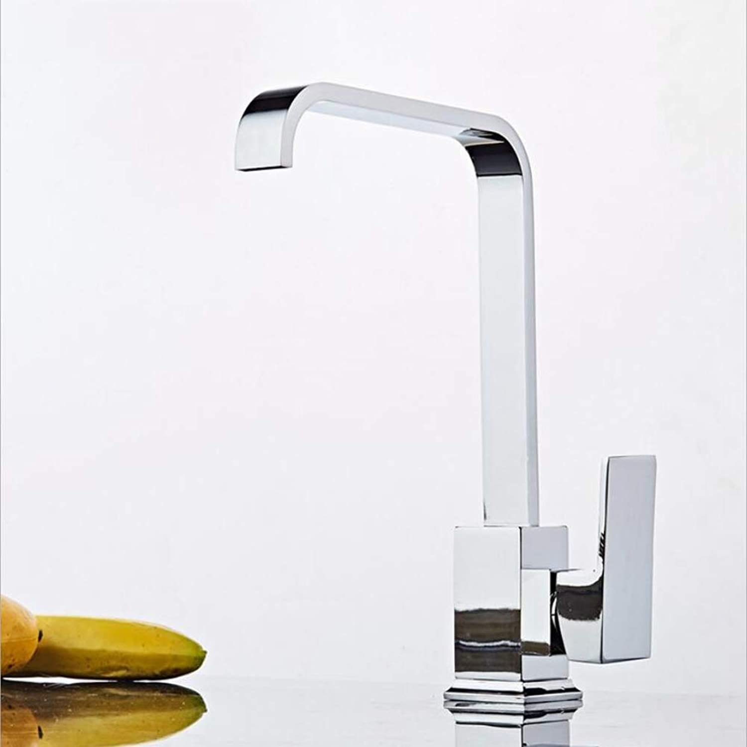 BFDMY Wivel Spout Leadless Square Innovative Classic Kitchen Sink Mixer Tap plating Single Hole Single Handle Hot Cold Taps,SquareFlatTubeSilverFaucet