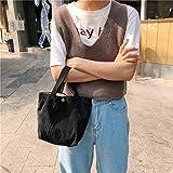 Molyflower Mini Bolso de Pana literario Bolsa de Almuerzo portátil Femenina Bolsa de Almuerzo para niños Estudiantes Bolsa térmica Bolso de Lona Plegable - Negro