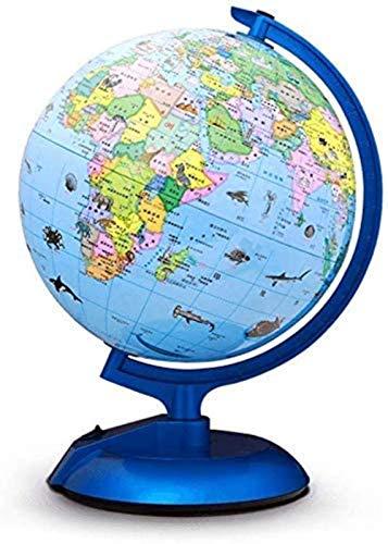 THj Globo terráqueo de 10 Pulgadas Globo de iluminación para niños Globo de Escritorio Decorativo Mundo Globo terráqueo Educativo de tamaño más Grande con Soporte de Metal Globo terráqueo