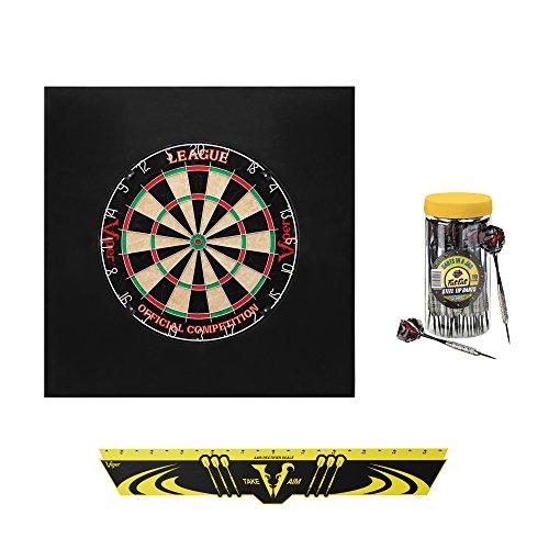 Viper Defender II Backboard & Sisal/Bristle Steel Tip Dartboard Bundle: Deluxe Set (League Dartboard, Defender II Backboard, Edge Throw Line, 21pc Jar of Darts)