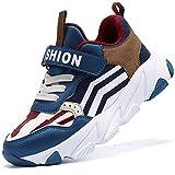 Scarpe Sportive Bambini e Ragazzi Scarpe da Corsa Ginnastica Respirabile Mesh Running Sneakers Fitness Casual(H Blu Marrone,36 EU)