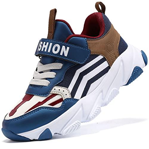 Scarpe Sportive Bambini e Ragazzi Scarpe da Corsa Ginnastica Respirabile Mesh Running Sneakers Fitness Casual(H Blu Marrone,34 EU)