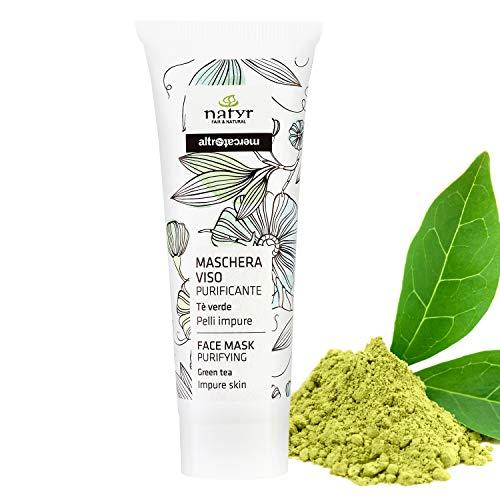 Natyr Gesichtsmaske mit grünem Tee für porentiefe Reinigung bei unreiner und fettiger Haut 50 ml - für einen strahlend schönen Teint