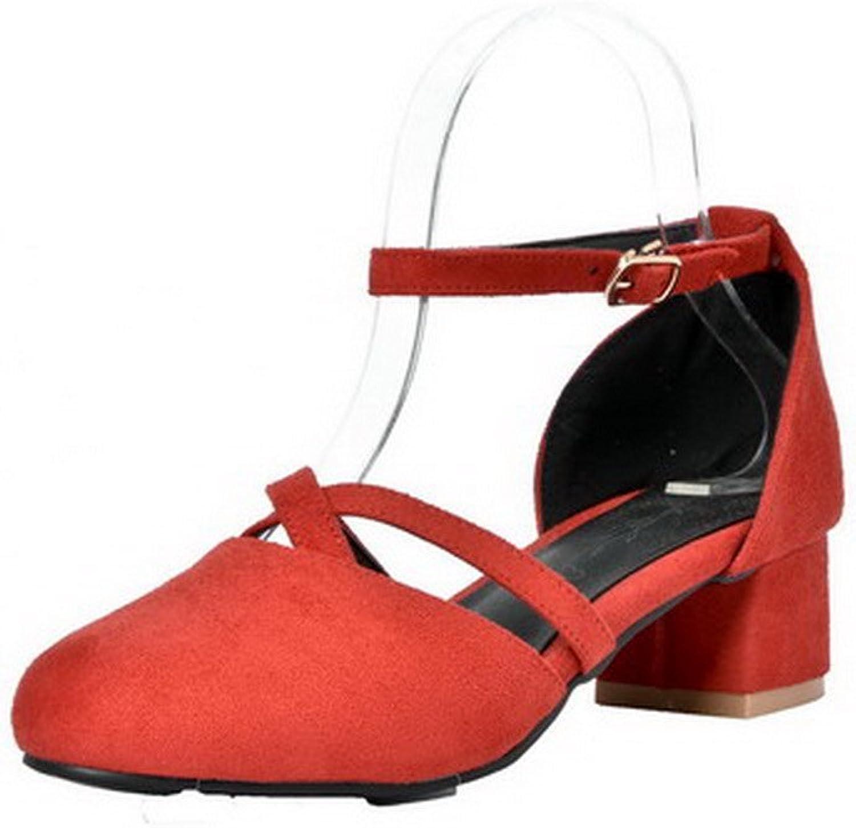 WeiPoot Women's Frosted Kitten-Heels Buckle Closed Toe Sandals