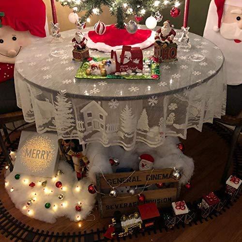 Ruosaren Ronde Kerstmis Kant Tafelkleed Kerstmis Sneeuwvlok Kant Tafelkleed voor Kerstmis Decoratie(178cm in diameter)