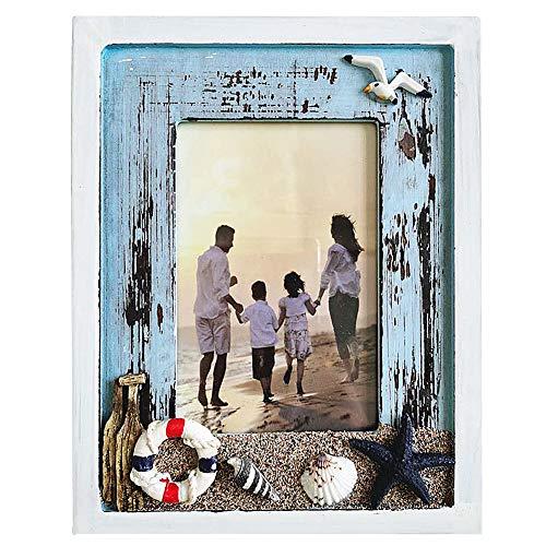 Muamax Bilderrahmen für Strandfotos, 10 x 15 cm, verwitterte Holzrahmen, nautisches Foto, Ständer, Marine-Dekoration, Geschenke