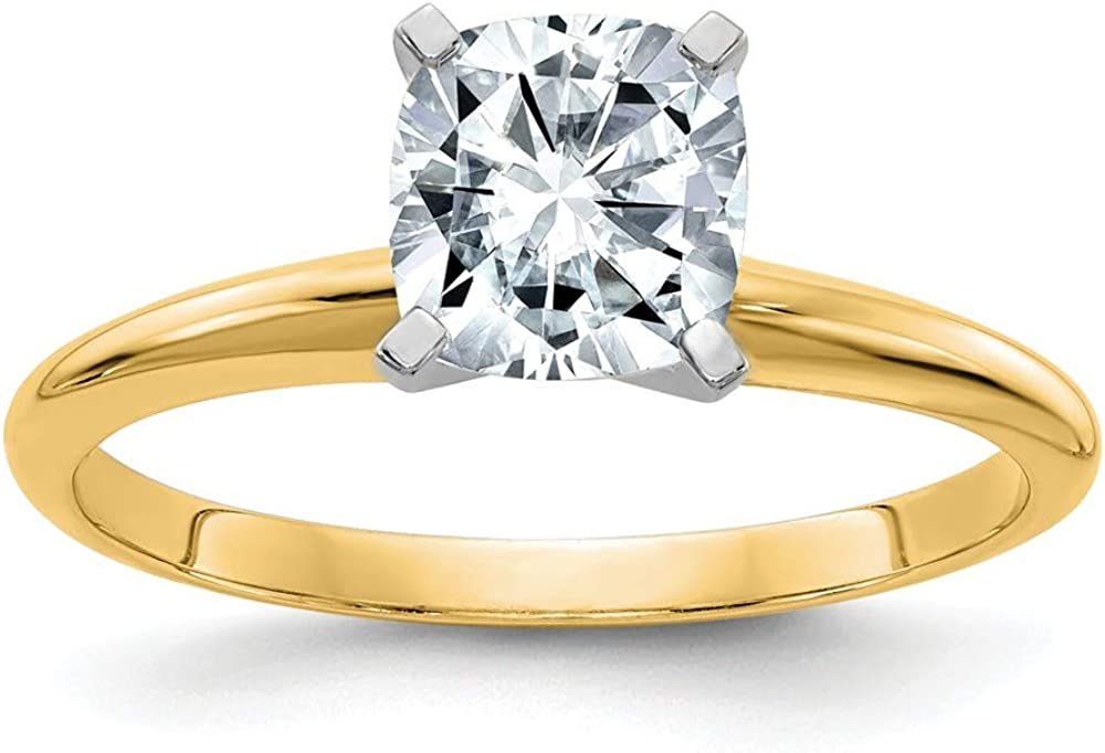 14k Yellow Gold 2ct. D E F Pure Cushion Moissanite Solitaire Band Ring Engagement Gsh Gshx Fine Jewelry For Women Gifts For Her